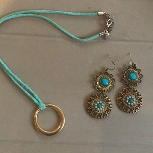 Turquoise earring with Cord necklace to match